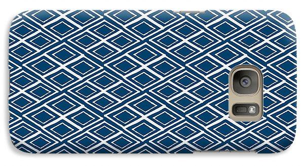 Indigo And White Small Diamonds- Pattern Galaxy S7 Case by Linda Woods