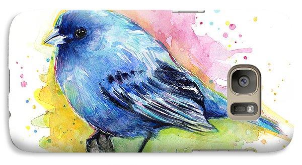 Indigo Bunting Blue Bird Watercolor Galaxy Case by Olga Shvartsur