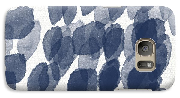 Indigo Rain- Abstract Blue And White Painting Galaxy Case by Linda Woods