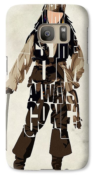 Jack Sparrow Inspired Pirates Of The Caribbean Typographic Poster Galaxy Case by Ayse Deniz