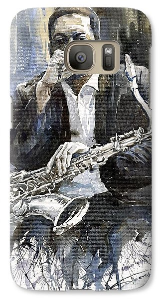 Jazz Saxophonist John Coltrane Yellow Galaxy S7 Case by Yuriy  Shevchuk