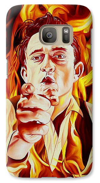 Johnny Cash And It Burns Galaxy Case by Joshua Morton