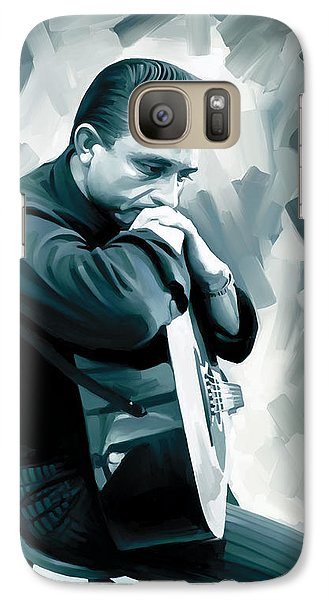 Johnny Cash Artwork 3 Galaxy Case by Sheraz A