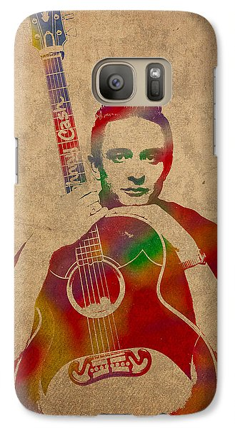 Johnny Cash Watercolor Portrait On Worn Distressed Canvas Galaxy Case by Design Turnpike