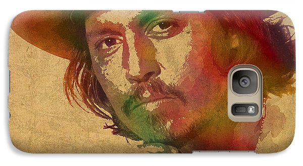 Johnny Depp Watercolor Portrait On Worn Distressed Canvas Galaxy Case by Design Turnpike
