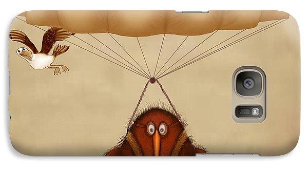 Kiwi Bird Kev Parachuting Galaxy Case by Marlene Watson
