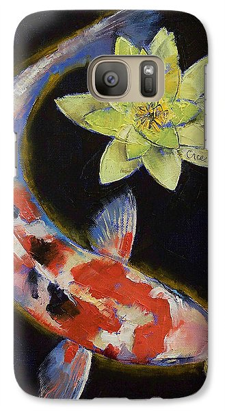 Koi With Yellow Water Lily Galaxy Case by Michael Creese
