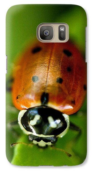 Ladybug On Green Galaxy S7 Case by Iris Richardson