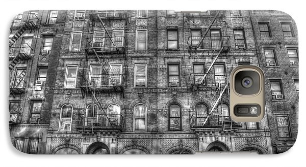 Led Zeppelin Physical Graffiti Building In Black And White Galaxy Case by Randy Aveille