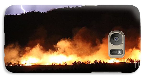 Galaxy Case featuring the photograph Lightning During Wildfire by Bill Gabbert