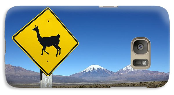 Llamas Crossing Sign Galaxy S7 Case by James Brunker
