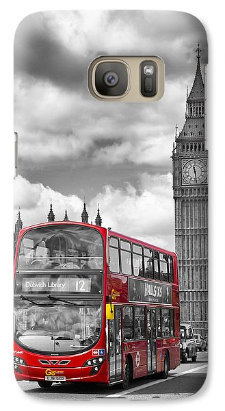 London - Houses Of Parliament And Red Bus Galaxy S7 Case by Melanie Viola