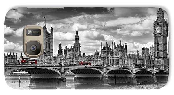 London - Houses Of Parliament And Red Buses Galaxy S7 Case by Melanie Viola