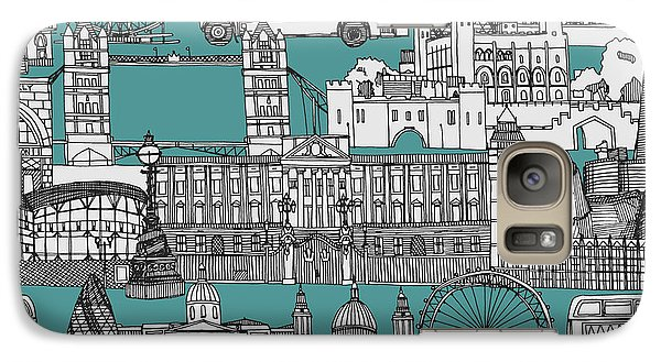 London Toile Blue Galaxy Case by Sharon Turner