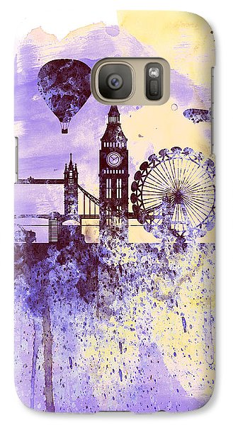 London Watercolor Skyline Galaxy Case by Naxart Studio