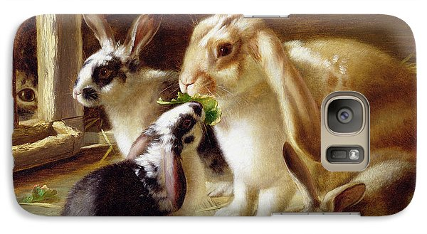 Long-eared Rabbits In A Cage Watched By A Cat Galaxy Case by Horatio Henry Couldery