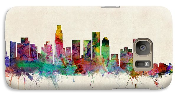 Los Angeles City Skyline Galaxy Case by Michael Tompsett