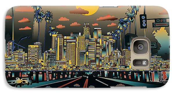 Los Angeles Skyline Abstract 2 Galaxy Case by Bekim Art