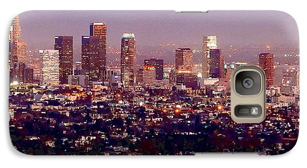 Los Angeles Skyline At Dusk Galaxy Case by Jon Holiday