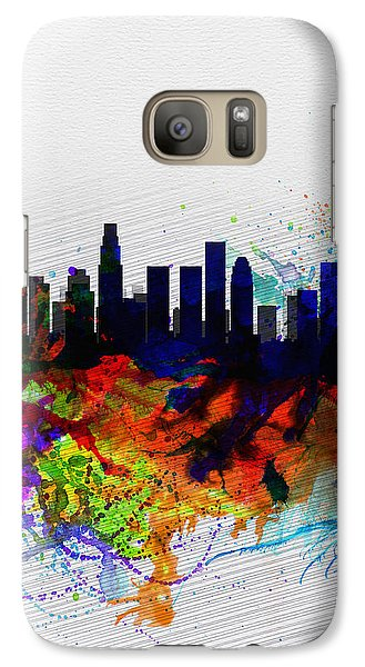 Los Angeles  Watercolor Skyline 2 Galaxy Case by Naxart Studio
