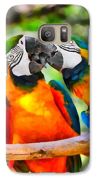 Love Bites - Parrots In Silver Springs Galaxy Case by Christine Till