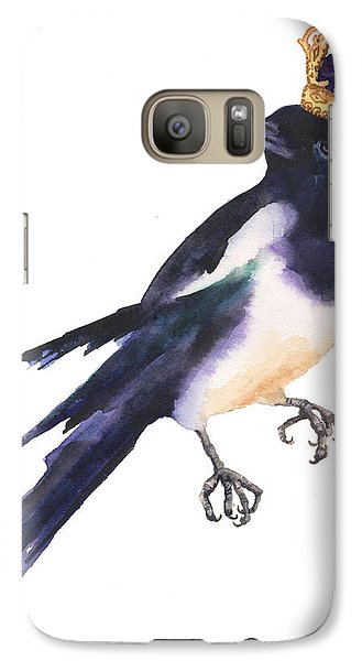 Magpie Watercolor Galaxy S7 Case by Alison Fennell