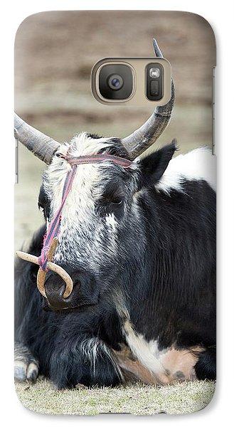 Male Yak In Potatso National Park Galaxy S7 Case by Tony Camacho