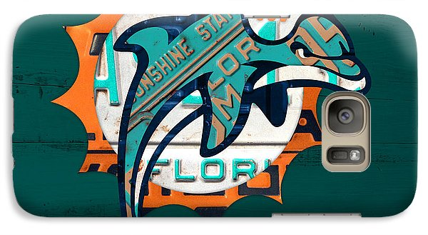 Miami Dolphins Football Team Retro Logo Florida License Plate Art Galaxy S7 Case by Design Turnpike