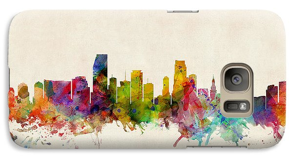Miami Florida Skyline Galaxy Case by Michael Tompsett