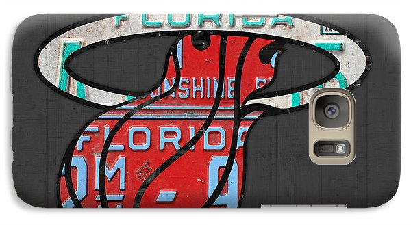 Miami Heat Basketball Team Retro Logo Vintage Recycled Florida License Plate Art Galaxy Case by Design Turnpike
