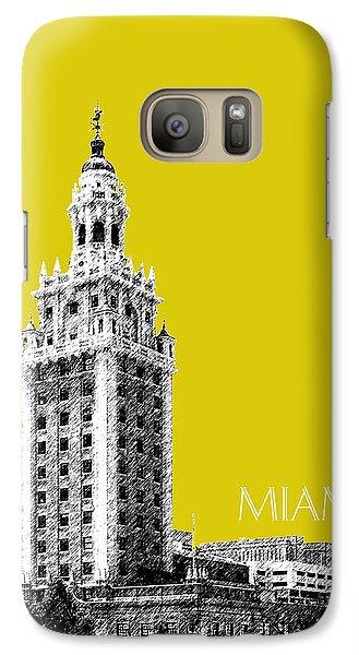 Miami Skyline Freedom Tower - Mustard Galaxy S7 Case by DB Artist