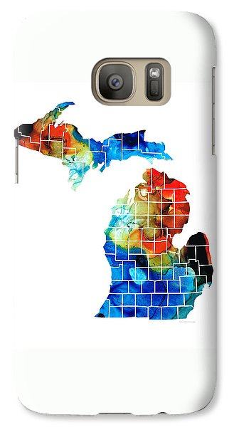 Michigan State Map - Counties By Sharon Cummings Galaxy S7 Case by Sharon Cummings