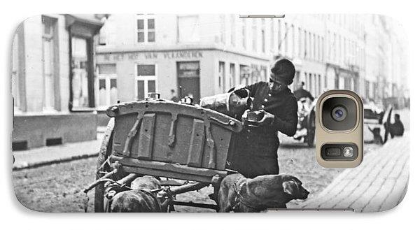 Galaxy Case featuring the photograph Milk Wagon Street Scene Germany C 1900 Vintage Photo by A Gurmankin