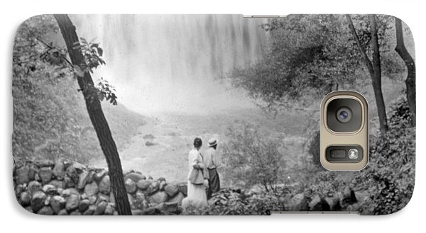 Galaxy Case featuring the photograph Minnehaha Falls Minneapolis Minnesota 1915 Vintage Photograph by A Gurmankin