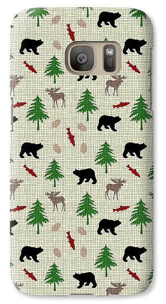 Moose And Bear Pattern Galaxy Case by Christina Rollo