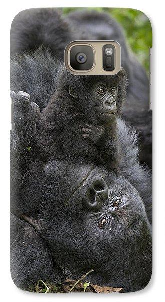 Mountain Gorilla Baby Playing Galaxy Case by Suzi  Eszterhas