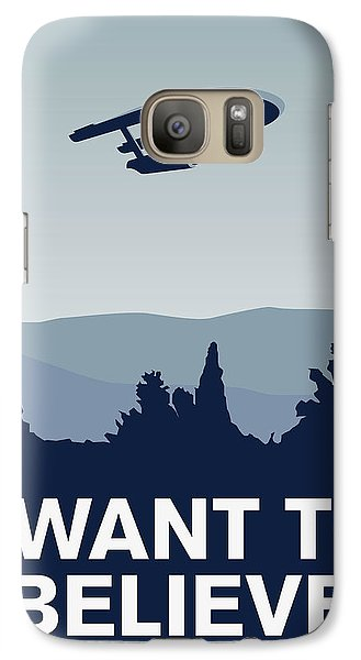 My I Want To Believe Minimal Poster-enterprice Galaxy Case by Chungkong Art