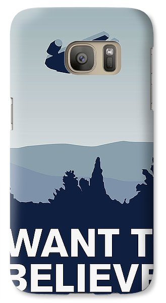 My I Want To Believe Minimal Poster-millennium Falcon Galaxy S7 Case by Chungkong Art