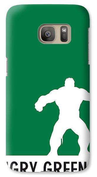 My Superhero 01 Angry Green Minimal Poster Galaxy S7 Case by Chungkong Art