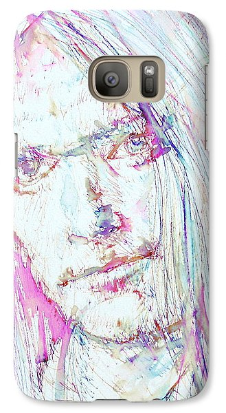 Neil Young - Colored Pens Portrait Galaxy Case by Fabrizio Cassetta