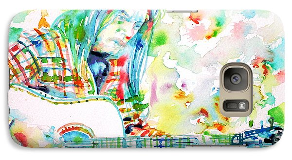 Neil Young Playing The Guitar - Watercolor Portrait.1 Galaxy Case by Fabrizio Cassetta