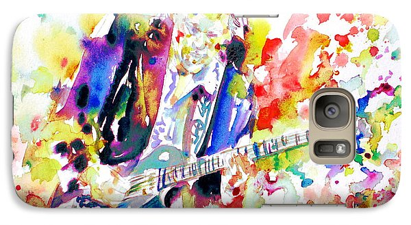 Neil Young Playing The Guitar - Watercolor Portrait.2 Galaxy Case by Fabrizio Cassetta