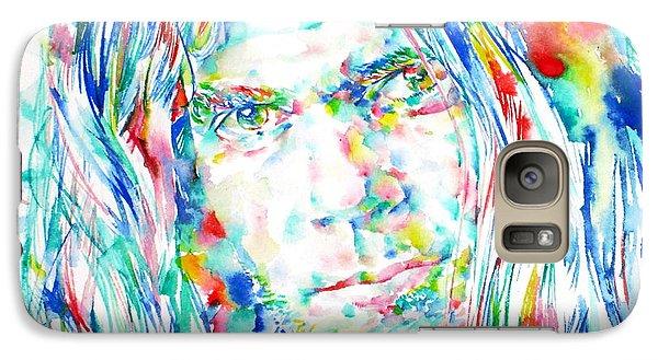 Neil Young - Watercolor Portrait Galaxy Case by Fabrizio Cassetta