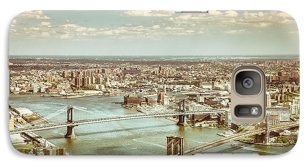 New York City - Brooklyn Bridge And Manhattan Bridge From Above Galaxy Case by Vivienne Gucwa