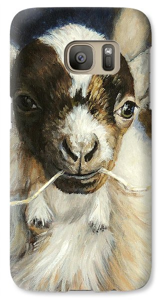 Nigerian Dwarf Goat With Straw Galaxy Case by Dottie Dracos