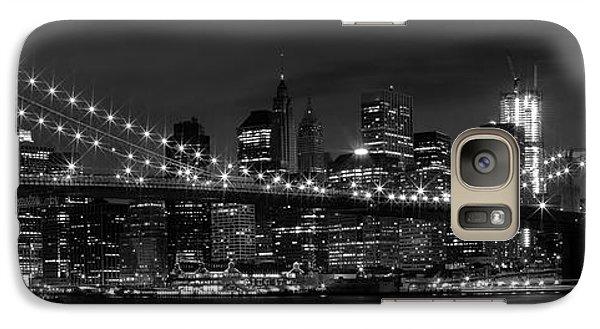 Night-skyline New York City Bw Galaxy Case by Melanie Viola