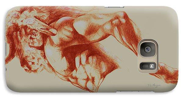North American Minotaur Red Sketch Galaxy S7 Case by Derrick Higgins
