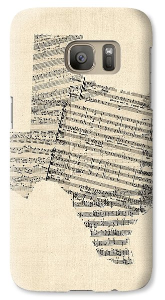 Old Sheet Music Map Of Texas Galaxy S7 Case by Michael Tompsett