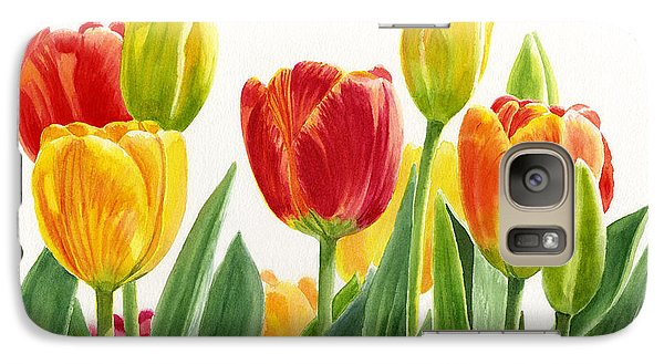 Orange And Yellow Tulips Horizontal Design Galaxy Case by Sharon Freeman