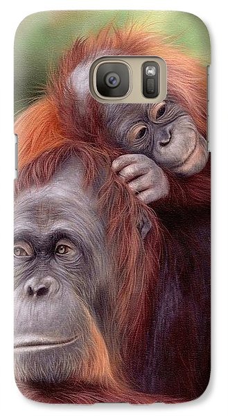 Orangutans Painting Galaxy Case by Rachel Stribbling
